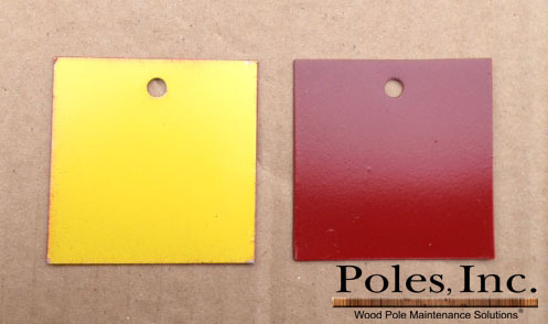 "Pole Tag 2"" x 2"" Aluminum Yellow one side/Red other side (Bag of 100)"
