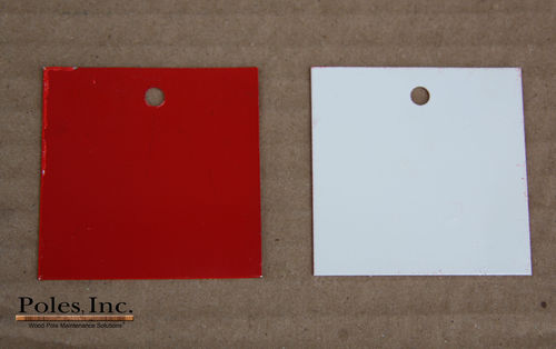 "Pole Tag 2"" x 2"" Aluminum Red one side/White other side (Bag of 100)"